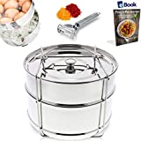 Kitchen Deluxe Stackable Steamer Insert Pans - With Sling - Fits Instant Pot - Accessories Include Vegetable Peeler + eBook - 100% Stainless Steel - For Instapot Pressure Cooker 6 Quart & 8 Qt