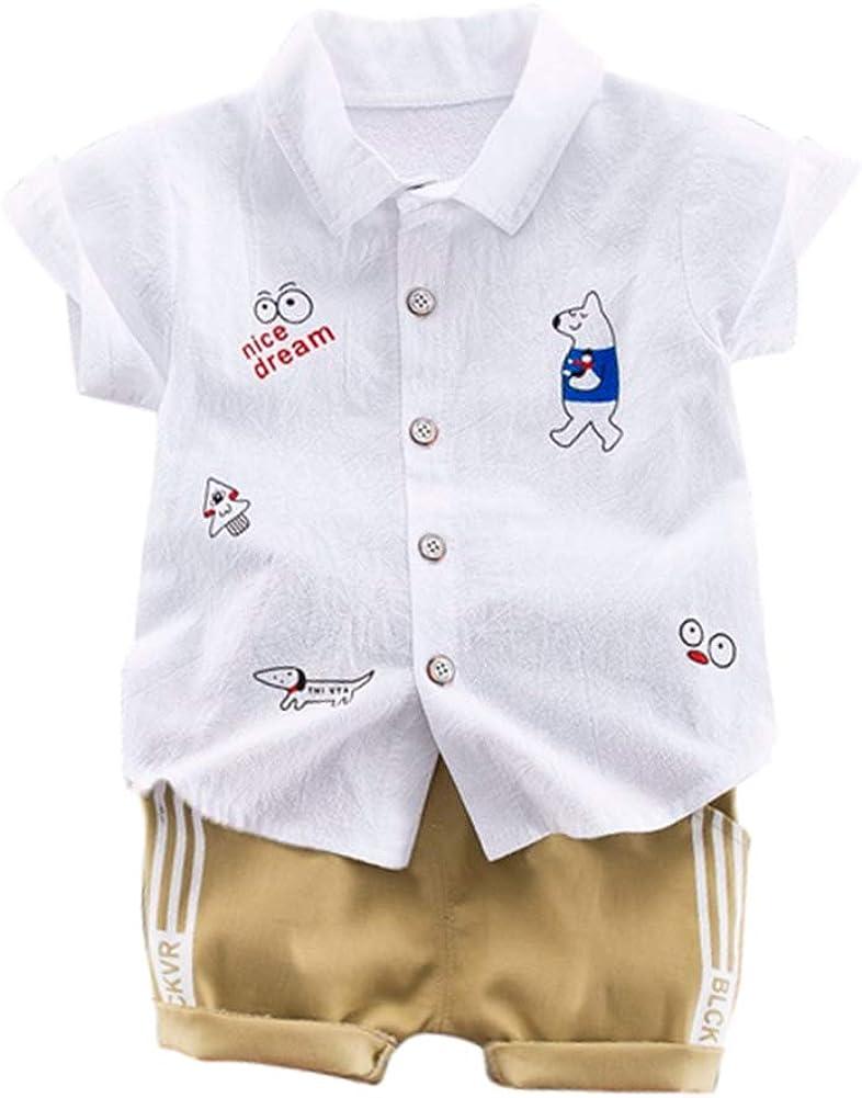ESHOO Little Boys Cartoon Printed Short Sleeve Button Down Shirt Shorts Pants Outfits Clothes