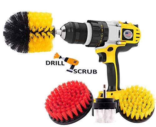 Drill Brush Set By Drillscrub -Pack of 4 Drill Scrubber Attachments For Pool Tile, Flooring, Brick, Ceramic, Marble & Grout Cleaning-Soft, Medium & Stiff Power DrillBrush HeadKit For Daily ()