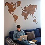 World Map Wooden Wall Sticker Decor Home Accessory Wedding Day Gift Housewarming Party Present Idea for Bedroom Rustic Interior Design Creative