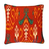 Vivai Home Red Multi Color Bombay Abstract 18x 18 Square Feather Pillow