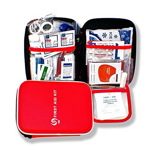 Medical First Aid Kit- OSHA TSA compliant, nurse designed first aid for: hiking, home, travel, school, family, work, emergency, compact, water resistant bag, car, hunting. camping, sports, boating.