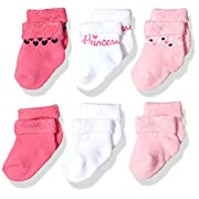 Gerber Baby Girls 6 Pair Socks, Princess, 0-3 Months