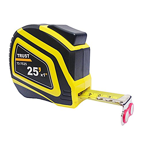 Trust 72-7525 Tape Measure with Magnetic Hook, Heavy Duty Nylon Bonded Blade and Auto Lock, 25 Feet by 1-Inch