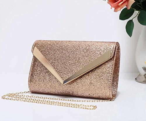 Black Shape V Glitter Evening Lightweight Bag Gold Envelope Foxlady's Clutch Women's and twzHfqHS