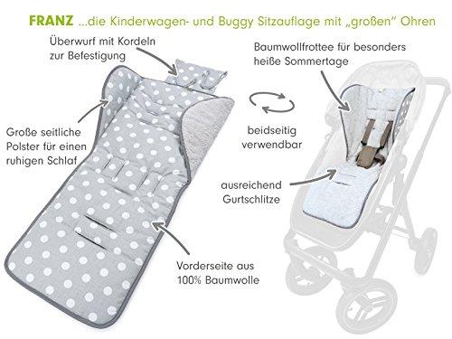 Priebes Sitzauflage Franz f/ür Kinderwagen Atmungsaktive Design:polka grau Buggy f/ür Kinderwagen antiallergische Sitzauflage // SitzeinlageUniversal f/ür Kinderwagen z.B