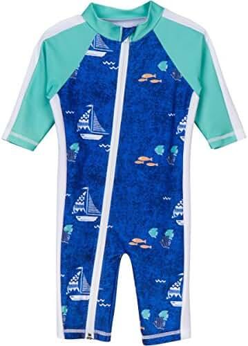 SwimZip® Little Boy Long Sleeve Sunsuit with UPF 50 Sun Protection Zip