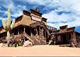 7x5ft Saloon Bar Old Wild West Desert Cowboy Town backdrop High-grade portrait cloth Computer print wall party Background shu290372960