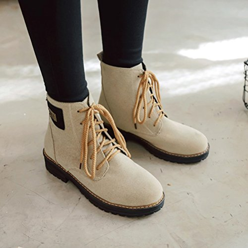 Leather Agodor Low Platform Womens Beige Up Ankle Nubuck Block Shoes Retro Lace Boots Heel vZ1qYvr