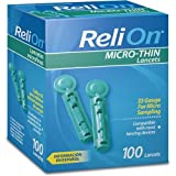 ReliOn 33G Micro-Thin Lancets, 100-ct (Pack of 2)