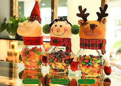 Navidad Candy de tarros para conservas, fashionclubs 3 piezas/set navidad botella de plástico