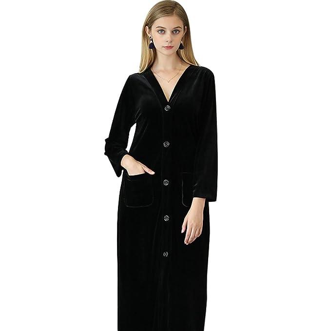 YiLianDa Camisón para Mujer Pijamas Invierno Nightdress Manga Larga Negro XL