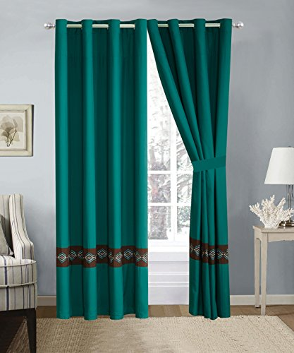 4 Piece Teal Blue / Brown Double-Needle Stitch Pinch Pleat Grommet Window Curtain set 108 x 84-inch, 2 Panels and 2 Ties Pinch Pleat Panel