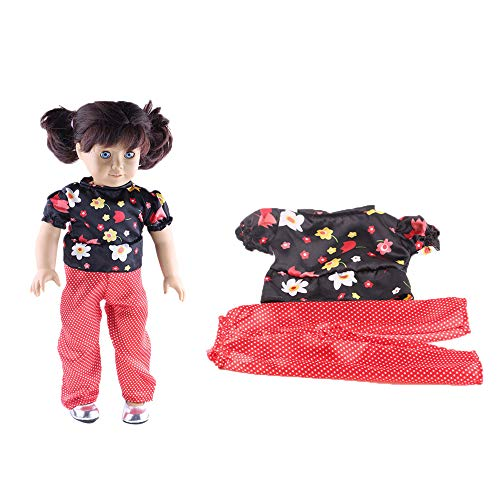 PSFS Clothes Wardrobe Leopard Print Clothes Dress for 18 Inch American Girl Doll Accessory Girl Toy (Red)