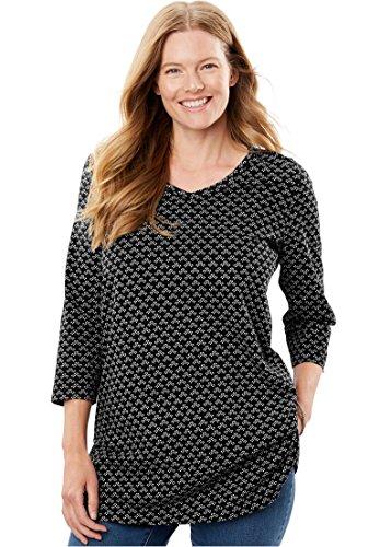 Womens Plus Size Perfect Print V Neck Tunic Black Small Geo 22 24