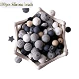 Baby Silicone Teether Beads 100pcs BPA Free Food Grade Teething Beads Black and White Series DIY Jewelry Chewable Nursing Necklace Accessories