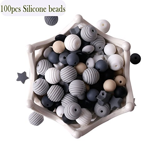 Baby Silicone Teether Beads 100pcs BPA Free Food Grade Teething Beads Black and White Series DIY Jewelry Chewable Nursing Necklace ()