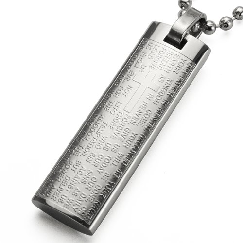 English Lord's Prayer and Cross Stainless Steel Large Pendant Necklace