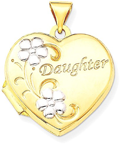 ICE CARATS 14k Yellow Gold Daughter Floral 18mm Heart Photo Pendant Charm Locket Chain Necklace That Holds Pictures by ICE CARATS