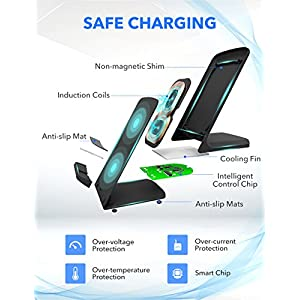 Seneo iPhone X Wireless Charger, 10W Fast Wireless Charger Charging Pad Stand(No AC Adapter) for Galaxy S9/S9 Plus Note 8/5 S8/S8 Plus S7/S7 Edge S6 Edge Plus, 5W Standard Charge for iPhone X/8/8 Plus
