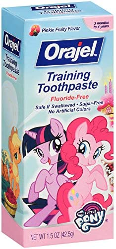 51nhlCOvOvL. AC - Orajel My Little Pony Fluoride-Free Training Toothpaste, Pinky Fruity Flavor, One 1.5oz Tube: Orajel #1 Pediatrician Recommended Brand For Kids Non-Fluoride Toothpaste