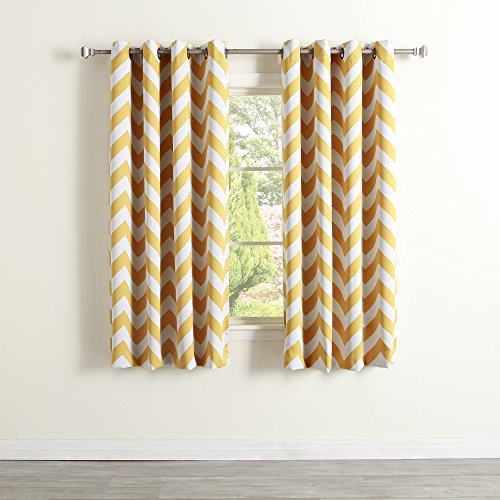 Best Home Fashion Room Darkening Chevron Print Curtains – Antique Bronze Grommet Top – Yellow- 52 W X 63 L – 1 Panel