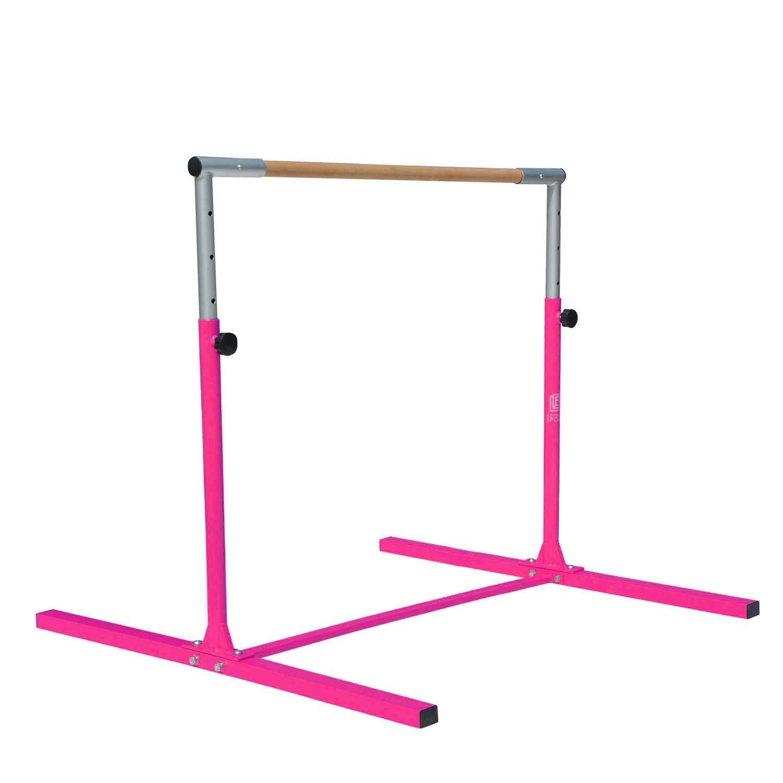 Modern-Depo Junior PRO Gymnastics Kip Bar | Adjustable (3'- 5') Training Horizontal Bar Beech Wood - Pink by Modern-Depo (Image #8)
