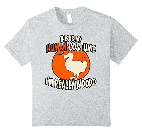 [Kids I'm Really a Dodo This is My Human Costume Halloween T-shirt 10 Heather Grey] (Dodo Bird Costume)