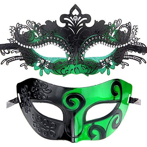 Couples Pair Half Venetian Masquerade Ball Mask Set Party Costume Accessory (green-15)