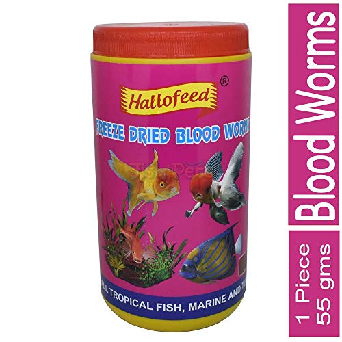 FishAsPets Hallofeed Freeze Dried Worms - 55 Grams Blood Worms