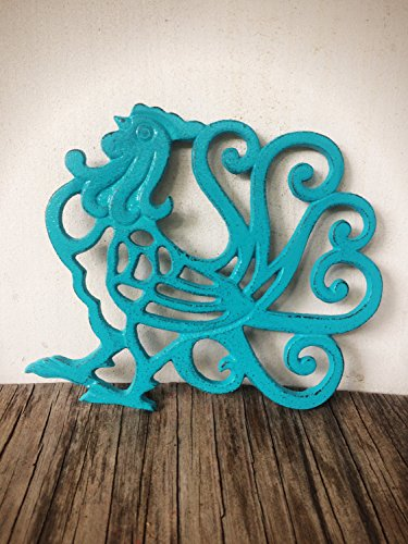 Turquoise Rooster Cast Iron Trivet – Farmhouse Table Decor – Rustic Kitchen Accessor ...