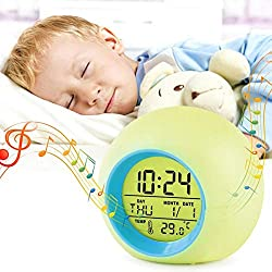Kids Alarm Clock,LED Digital Clock for Boys Girls, 7 Color Changing Night Light Clock for Kids Bedroom Bedside, Children's Clock with Indoor Temperature, Touch Control and Snooze, Gift for Kids