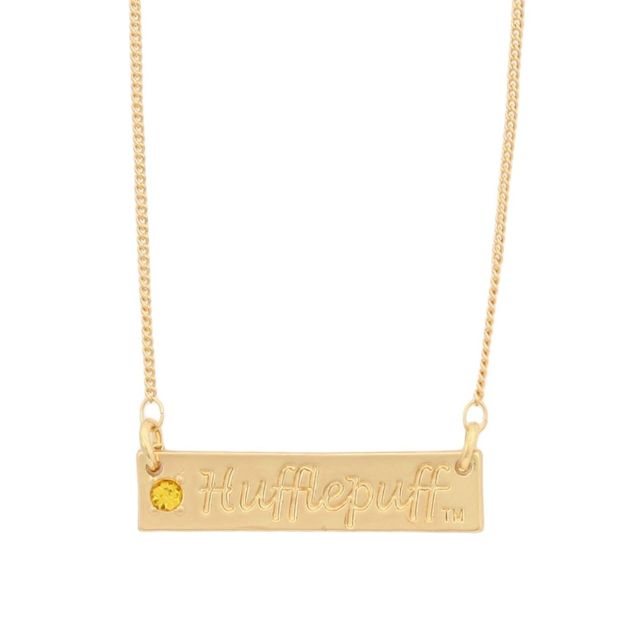 Harry Potter Hufflepuff Script Bar Necklace with Stone Bioworld NK4FZLHPT