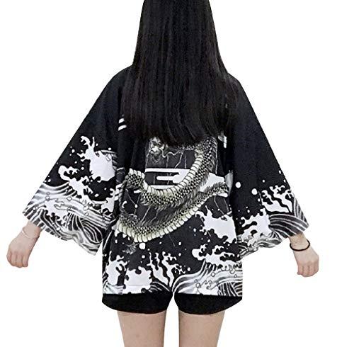 - Women's 3/4 Sleeve Loose fit Japanese Shawl Kimono Cover up Onesize US S-XL