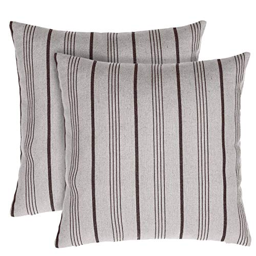 TINA S HOME Vintage Farmhouse Burlap Striped Decorative Throw Pillow with Down Alternative Filling 18×18 incehs, Set of 2, Brown and Beige