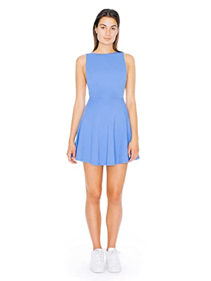 6c49e7989408ff American Apparel Women s Ponte Sleeveless Skater Dress Size M Cornflower