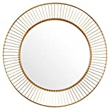 Rivet Modern Round Iron Circle Metal Mirror, 27.75'' Diameter, Gold Finish