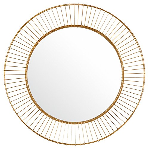 Rivet Modern Round Iron Circle Metal Hanging Wall Mirror, 27.75