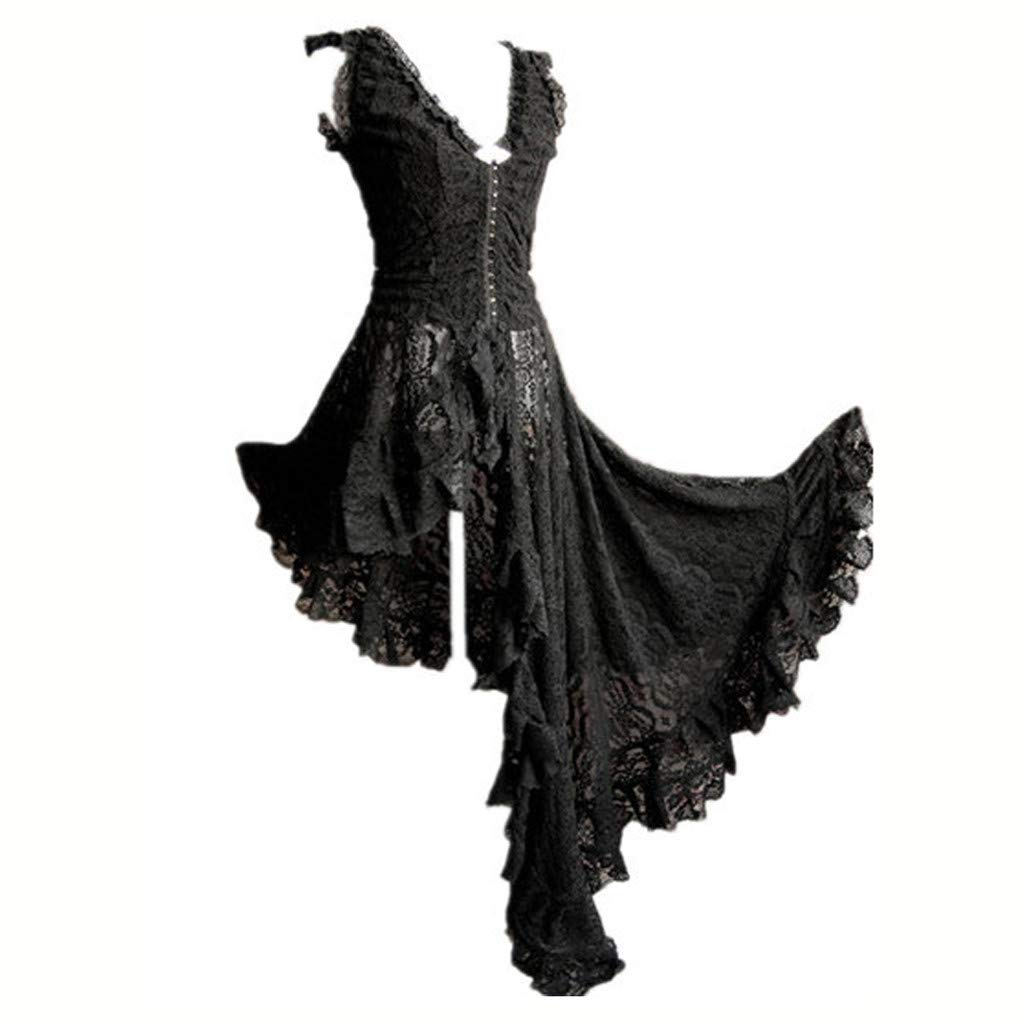 Annhoo Sexy V Neck Lingerie Vintage Gothic Prom Skirt Fashion Irregular Lace Patchwork Dress(M,Black) by Annhoo