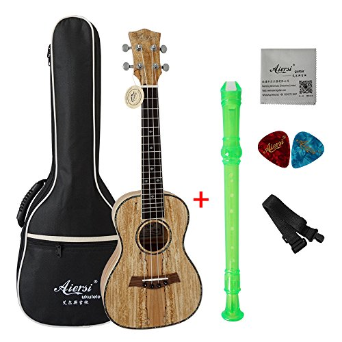 Aiersi Beginner Laminated Spalted Maple Body Hawaii Concert Ukulele free bag strap picks