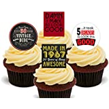 50th Birthday Male, 1966 Vintage, Edible Cupcake Toppers - Stand-up Wafer Cake Decorations by Made4You