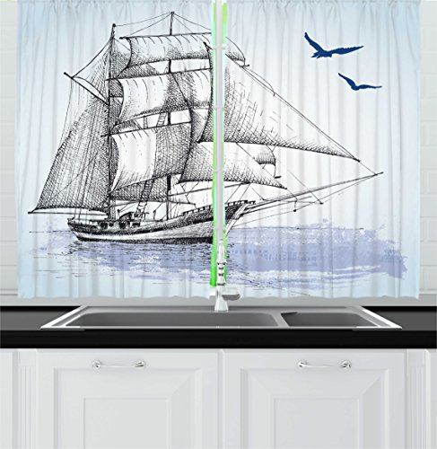 Ambesonne Nautical Kitchen Curtains, Vector Sketch Sailboat on Sea with Bird Retro Drawing Marine Theme Print, Window Drapes 2 Panels Set for Kitchen Cafe, 55W X 39L Inches, Light Blue and Black