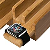 Merit Bamboo 5-Port USB Charging Station with Apple Watch Stand Multi-Device Desk Organizer Charging Dock Holder for iPhones, iPads, Nexus, Galaxy, and Other Smartphones and Tablets Bild 1
