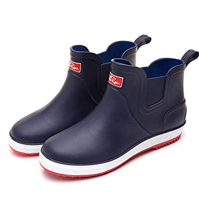 Laple Rain Boots for Mens Thickened Slip On Waterproof Non-Slip Rubber Ankle Boots Rain Chelsea Booties (Blue, 10) | Rain