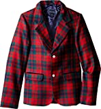OSCAR DE LA RENTA Childrenswear Boys' Holiday Plaid Wool Blazer (Little Big Kids), Ruby Multi, 2 (Toddler)