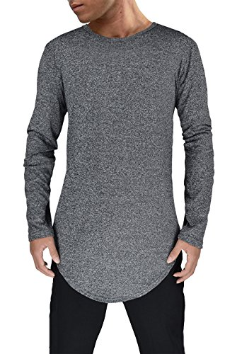 Moomphya Mens Extend Long Tail Hipster Hip Hop Streetwear T Shirts Curve Hem Long Sleeve Longline T-Shirt,Black1,Large by Moomphya