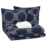 AmazonBasics 8-Piece Comforter Bedding Set, King, Navy Nautical Knot, Microfiber, Ultra-Soft