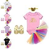 IBTOM CASTLE Baby Girls 1st Birthday Outfit Dress Skirt Rainbow Tutu Headband 4 PCS Cake Smash Crown Princess Costume Shoes Clothes Set