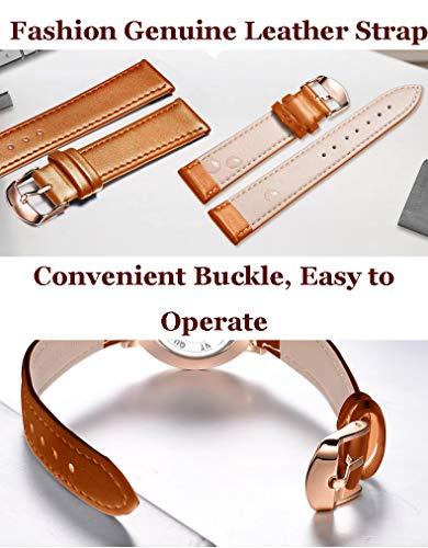 MLSJM 2 st par kvarts armbandsur för män kvinnor, hans eller hennes mode ultratunn vattentät armbandsur med svart urtavla och brun äkta läderrem