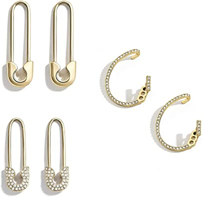 925 Sterling Silver Trendy Safety Pin Earring,Pave Safety Pin Earring,CZ Gold Pin Earring,Minimalist Dainty Earring,Delicate CZ Earring
